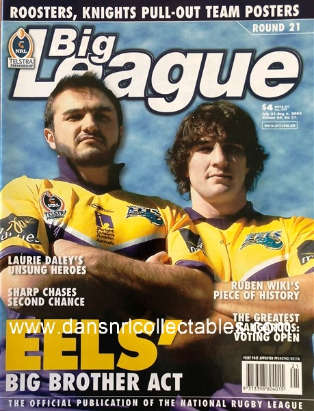 2003 Big League no  21, Eels, Pin-up – Roosters and Newcastle Team