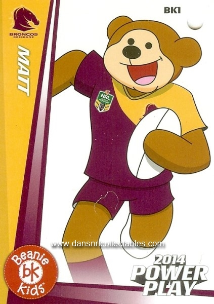 50abbe17 2014 NRL Power Play Beanie Kids Bag Tag, BK 1, Matt, Brisbane | 20795