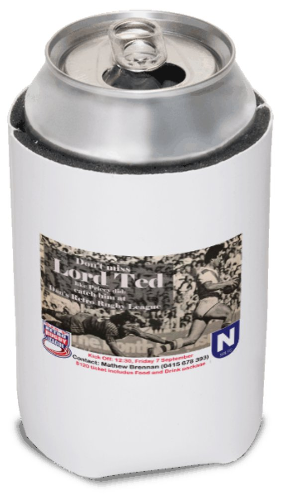 2018 Dan's Retro Rugby League Night 4 Stubby Cooler, Lord Ted, Black and  White